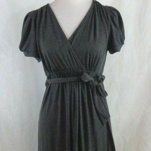 Motherhood Maternity Gray faux Wrap Dress M belted